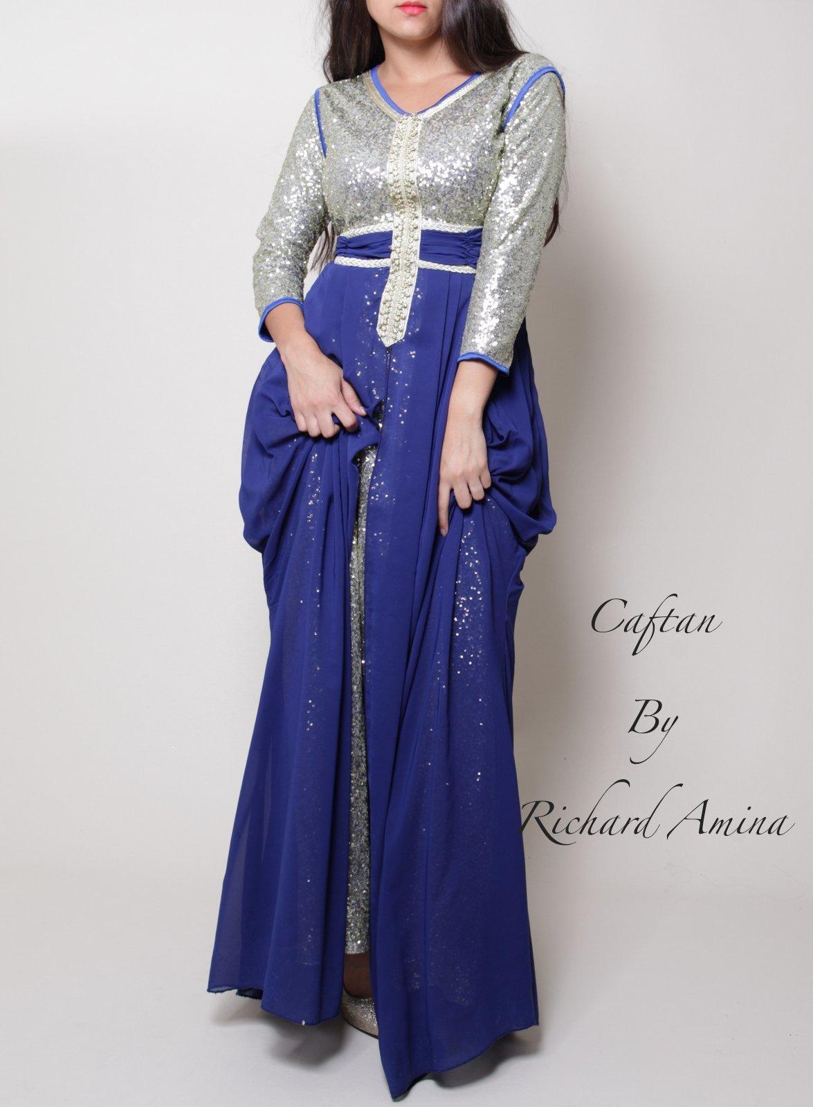 eb6c6d625f3 Robe caftan Dubaï à louer - Bleu   Argent - Caftan by richard Amina