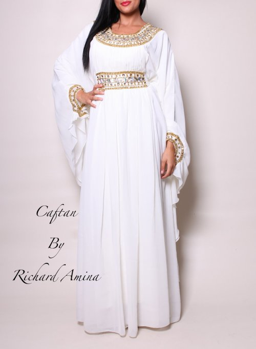 Robe caftan duba blanche louer caftan by richard amina for Louer la robe de mariage de piste